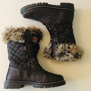 Pajar Canada Winter Leather Nylon Boot in Brown
